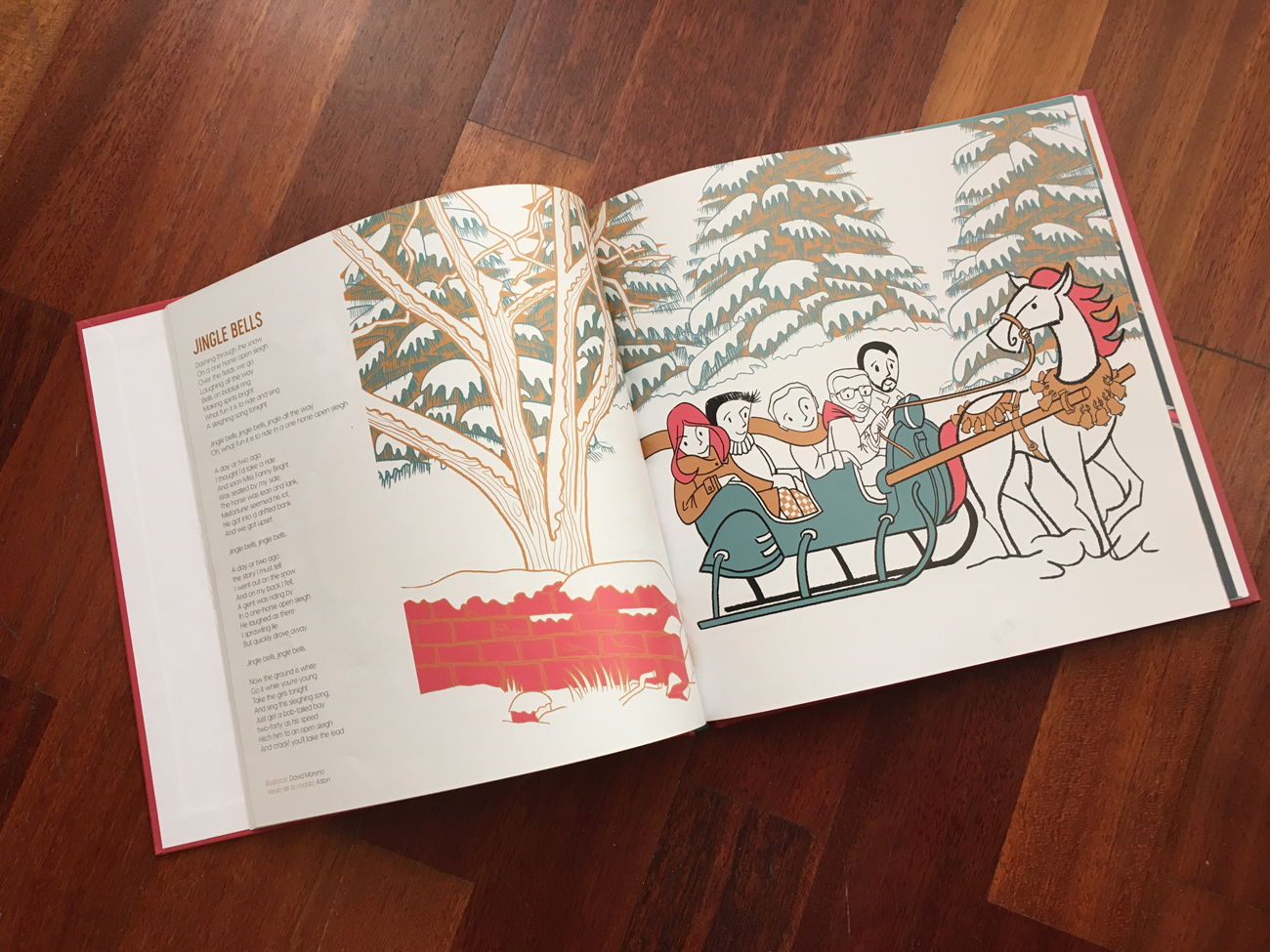 Ilustración editorial del popular villancico Jingle Bells.